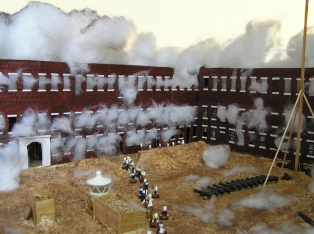 Fort Sumter during the second day of bombardment.